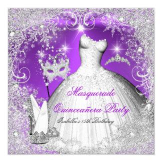 """Copos de nieve de plata púrpuras de Quinceanera de Invitación 5.25"""" X 5.25"""""""