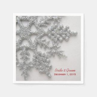 Copos de nieve de plata que casan las servilletas  servilleta desechable
