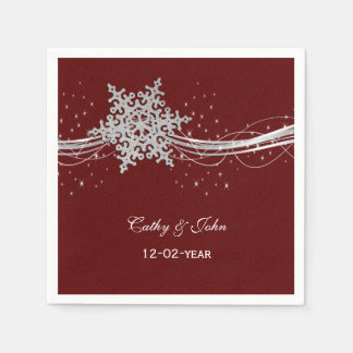 copos de nieve de plata rojos personalizados servilletas de papel