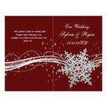 copos de nieve de plata rojos que casan los tarjetas informativas