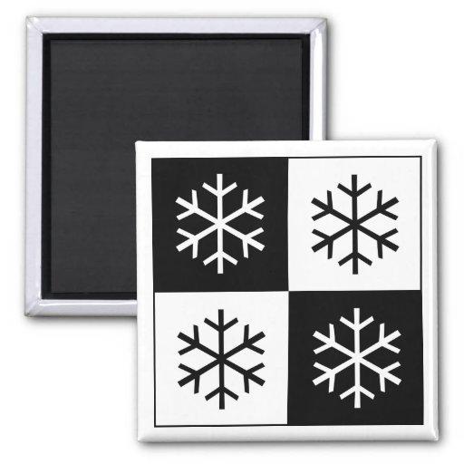 Copos de nieve del arte pop imanes de nevera