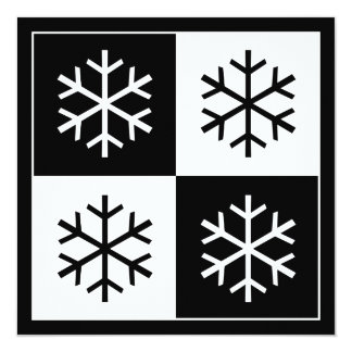 """Copos de nieve del arte pop invitación 5.25"""" x 5.25"""""""