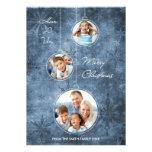 Copos de nieve del azul de la tarjeta de la foto d invitación