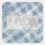 Copos de nieve del azul del marco de la foto del calcomanía cuadradas