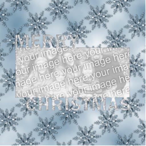 Copos de nieve del azul del marco de la foto del r adorno fotoescultura
