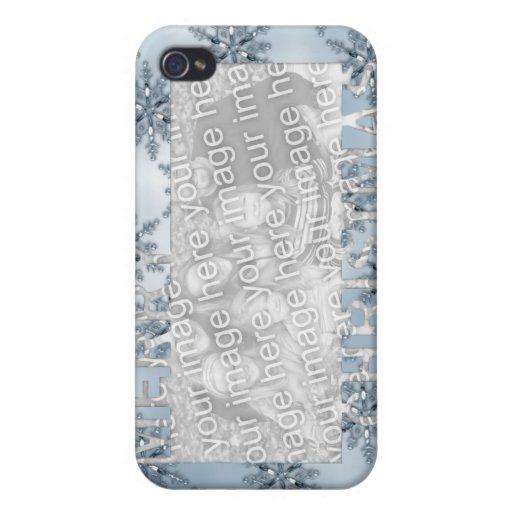 Copos de nieve del azul del marco de la foto del r iPhone 4 cobertura