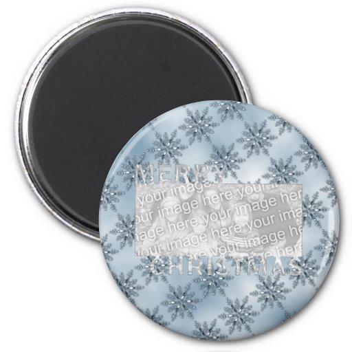 Copos de nieve del azul del marco de la foto del r imán