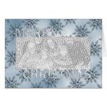 Copos de nieve del azul del marco de la foto del r felicitacion