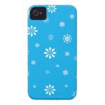 Copos de nieve del azul y del blanco de cielo iPhone 4 cobertura