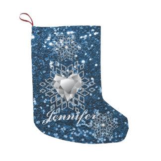 Copos de nieve del corazón del diamante y falso calcetín navideño pequeño