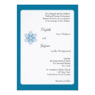 """Copos de nieve del cristal de hielo que casan la invitación 5"""" x 7"""""""