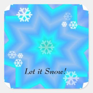 Copos de nieve del deslumbramiento pegatina cuadrada