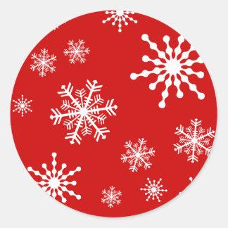 Copos de nieve del día de fiesta pegatinas redondas