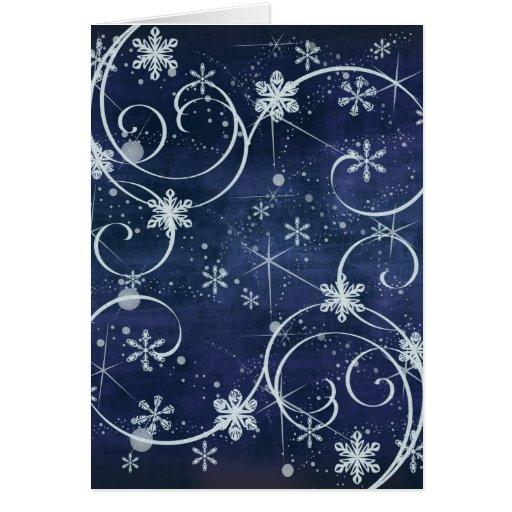 Copos de nieve del día de fiesta tarjeta de felicitación