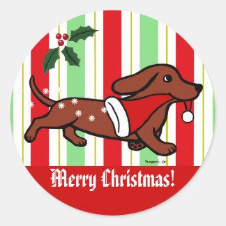 Copos de nieve del dibujo animado del navidad del etiqueta redonda