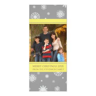 """Copos de nieve del gris del amarillo de la tarjeta invitación 4"""" x 9.25"""""""