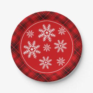 Copos de nieve del invierno en rojo de la tela plato de papel de 7 pulgadas