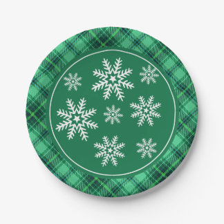 Copos de nieve del invierno en verde de la tela plato de papel de 7 pulgadas