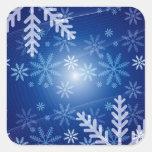 Copos de nieve del invierno calcomania cuadrada personalizada