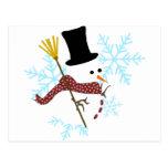 copos de nieve del muñeco de nieve postal