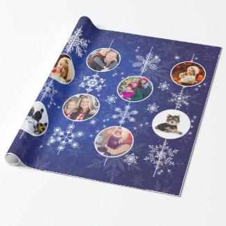 Copos de nieve del navidad 10 fotos de familia papel de regalo