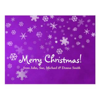 Copos de nieve del navidad de la familia púrpuras postales