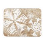 Copos de nieve del navidad de marfil y blanco imán rectangular
