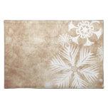 Copos de nieve del navidad de marfil y blanco manteles
