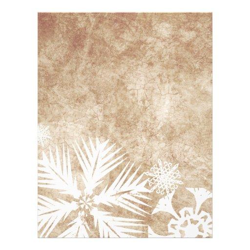 Copos de nieve del navidad de marfil y blanco plantillas de membrete