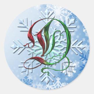 Copos de nieve del navidad del monograma de D Pegatina Redonda