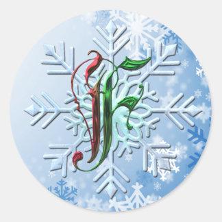 Copos de nieve del navidad del monograma de F Pegatina Redonda