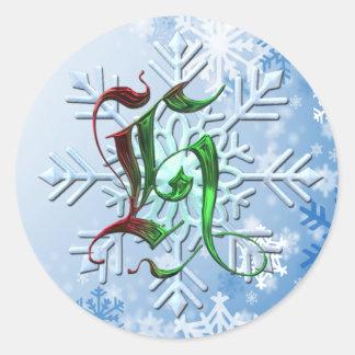 Copos de nieve del navidad del monograma de H Pegatina Redonda
