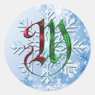 Copos de nieve del navidad del monograma de M Pegatina Redonda