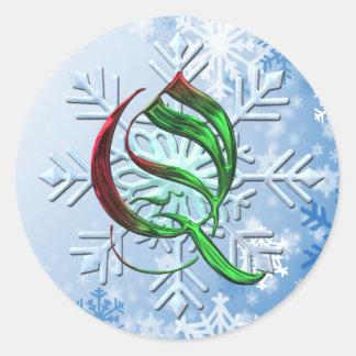 Copos de nieve del navidad del monograma de Q Pegatina Redonda