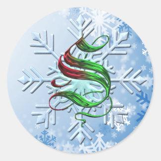 Copos de nieve del navidad del monograma de S Pegatina Redonda