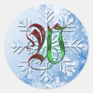 Copos de nieve del navidad del monograma de W Pegatina Redonda