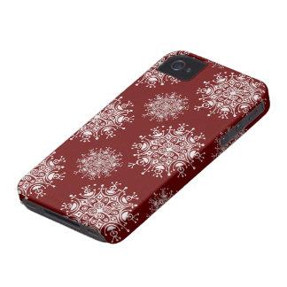 Copos de nieve del navidad del vintage, modelo de iPhone 4 Case-Mate funda