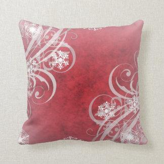 Copos de nieve del navidad rojos cojín
