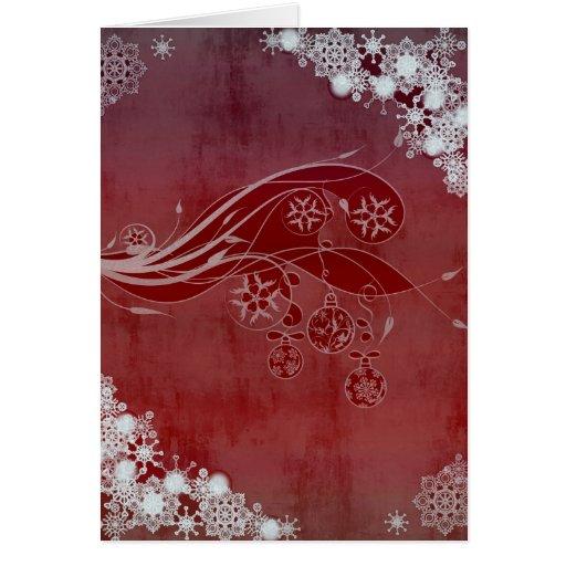 Copos de nieve del rojo del día de fiesta tarjeta de felicitación