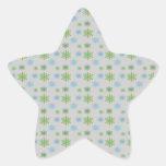 Copos de nieve del verde azul en la plata pegatina en forma de estrella