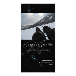 copos de nieve dispersados tarjeta de la foto de 4 tarjetas fotográficas personalizadas