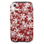 copos de nieve duros del rojo de la caja de la tough iPhone 3 protectores