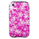 copos de nieve duros del rosa de la caja de la iPhone 3 tough cárcasa