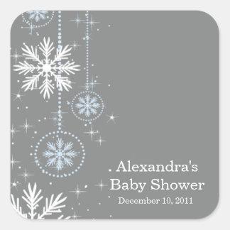 Copos de nieve elegantes azules y cuadrado gris de pegatina cuadrada