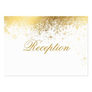 Copos de nieve elegantes del blanco y del oro tarjetas de visita grandes