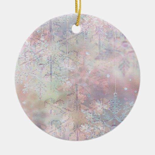 Copos de nieve en colores pastel adorno redondo de cerámica