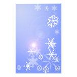 Copos de nieve en el navidad azul inmóvil papelería