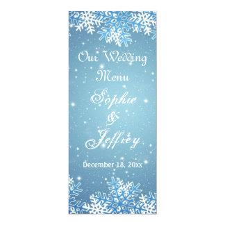 """Copos de nieve en el navidad azul que casa el menú invitación 4"""" x 9.25"""""""