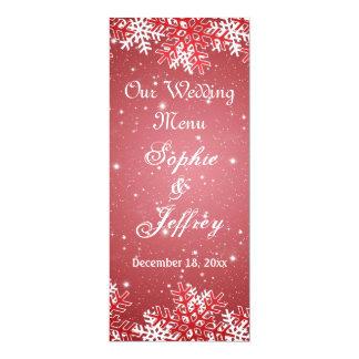 """Copos de nieve en el navidad rojo que casa el menú invitación 4"""" x 9.25"""""""