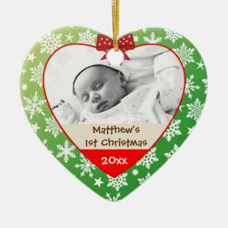 Copos de nieve en el ornamento del navidad del beb ornamento de navidad